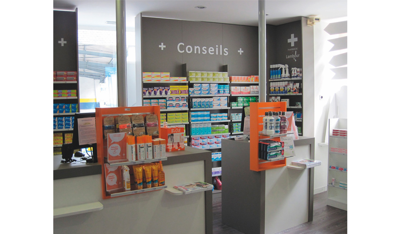 Hauts de rayons, aménagement de la pharmacie